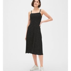 GAP black polka dot midi dress